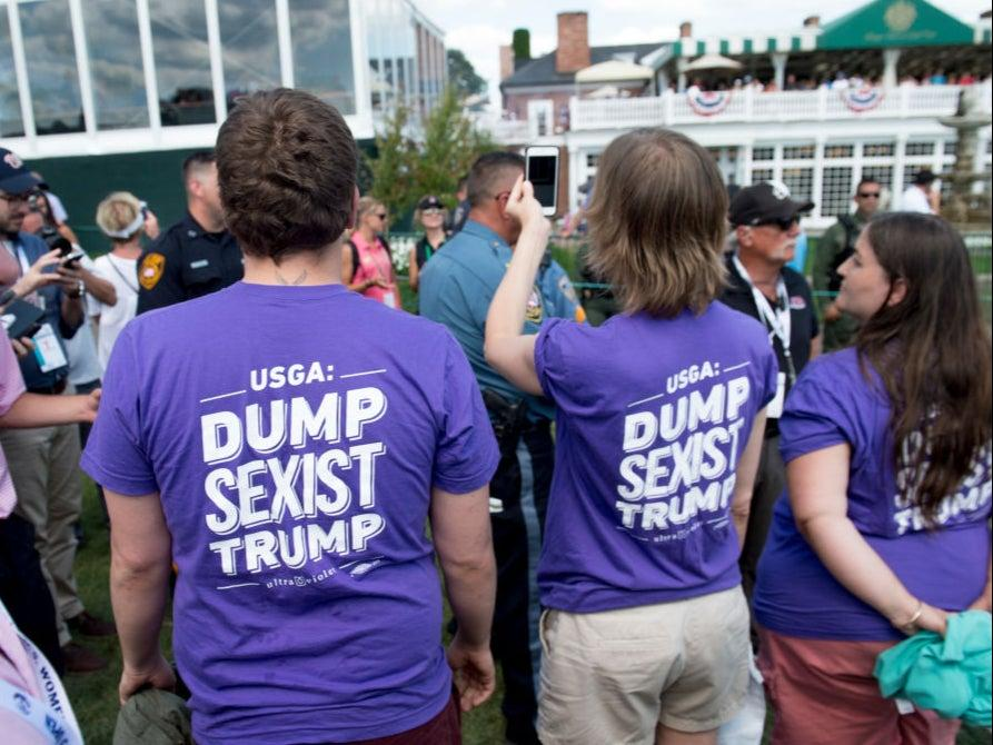 Protestors attend the US Women's Open at Bedminster in 2017AFP via Getty Images