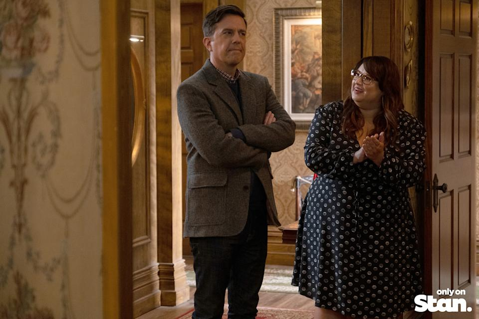 Nathan Rutherford (Ed Helms) and Reagan Wells (Jana Schmieding) in Rutherford Falls.