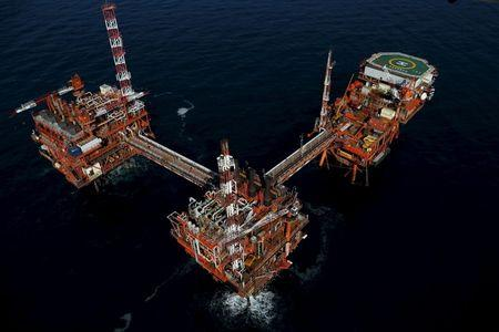 An oil platform is seen in the Adriatic Sea