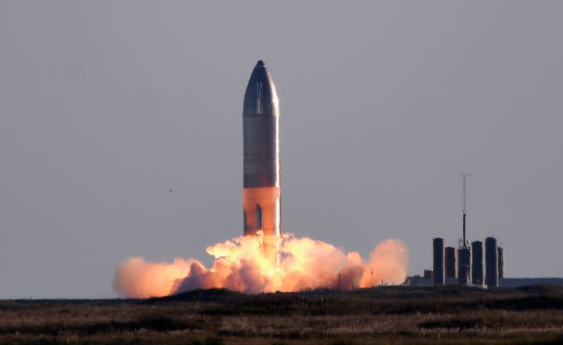 SpaceX launches its first super heavy-lift Starship SN8 rocket during a test from their facility in Boca Chica,Texas