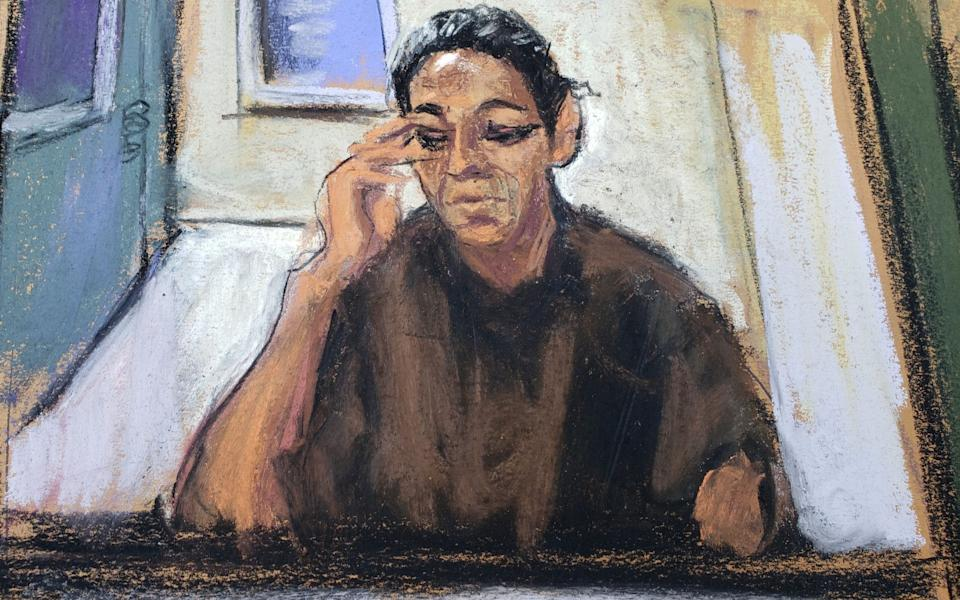 A courtroom sketch of Ghislaine Maxwell appearing via video link during her arraignment hearing at Manhattan Federal Court in New York - Reuters