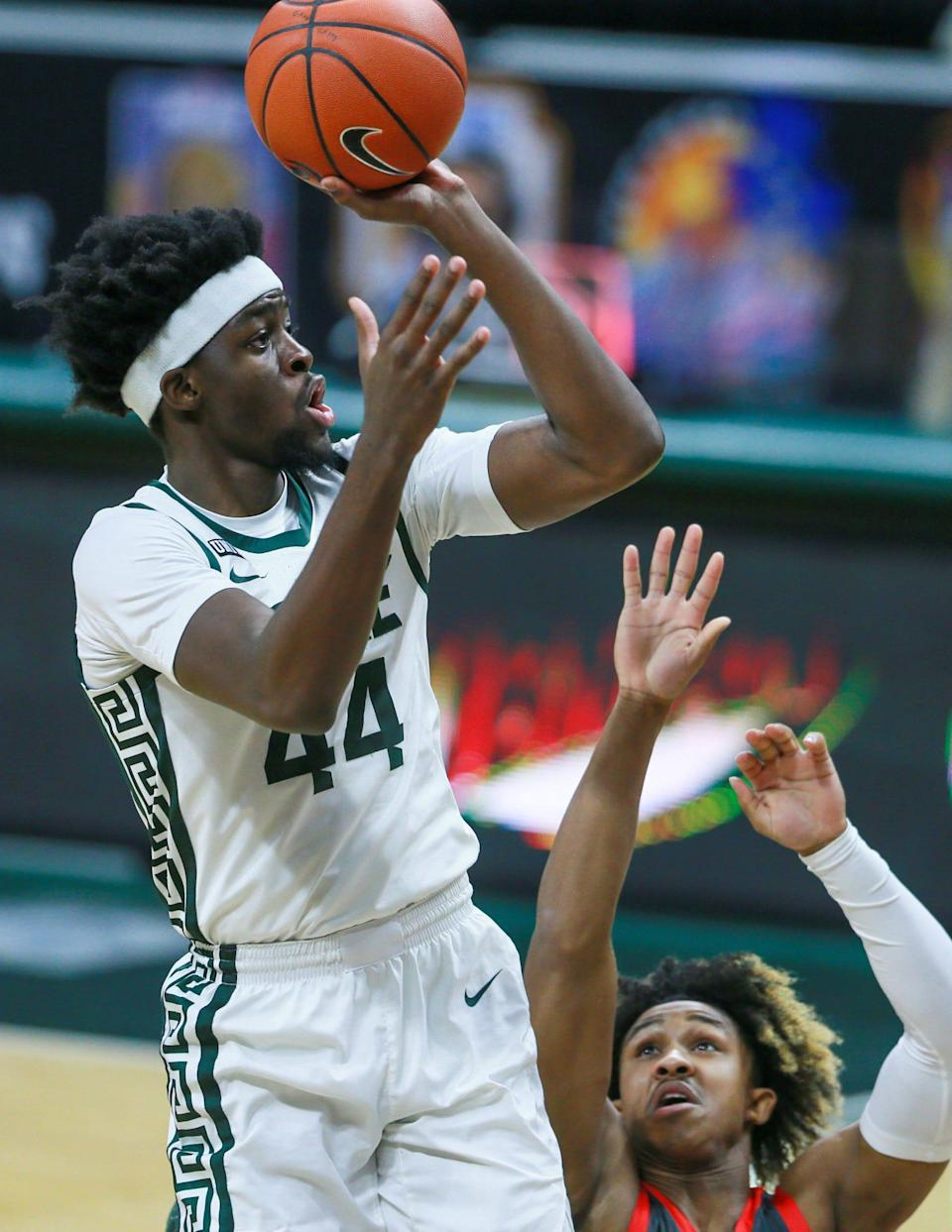 Michigan State forward Gabe Brown shoots during the first half against Ohio State on Thursday, Feb. 25, 2021, in East Lansing.