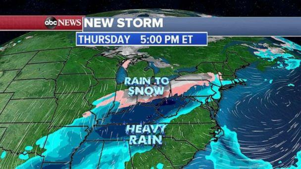 PHOTO: This storm system will interact with colder air spilling into the area and places from the Midwest to the Northeast could see its first snow of the season. (ABC News)