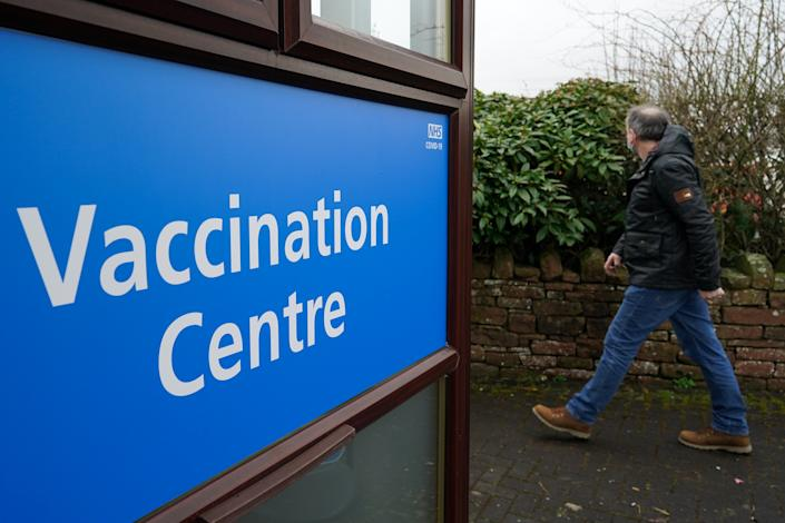 PENRITH, ENGLAND - MARCH 25: A patient attends the Penrith Auction Mart Vaccination Centre to receive the AstraZeneca/Oxford University Covid-19 vaccine on March 25, 2021 in Penrith, England. Nearly 29 million people have received their first dose of a Covid-19 vaccine in the UK, with more than 2.5 million having received a second dose. (Photo by Ian Forsyth/Getty Images)