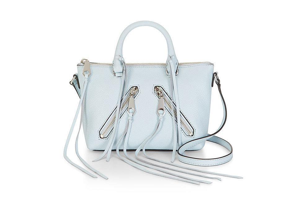 """<p>Cyber Monday: <br>Get 25% off and a free Essie nail polish with your purchase.<br>When: 11/27 – 11/30<br>Where: In store and <a href=""""http://www.rebeccaminkoff.com/"""" rel=""""nofollow noopener"""" target=""""_blank"""" data-ylk=""""slk:Online"""" class=""""link rapid-noclick-resp"""">Online</a></p><p>Rebecca Minkoff Micro Moto Satchel, $195, <a href=""""http://www.rebeccaminkoff.com/micro-moto-satchel-holiday-bleachedblue#"""" rel=""""nofollow noopener"""" target=""""_blank"""" data-ylk=""""slk:rebeccaminkoff.com"""" class=""""link rapid-noclick-resp"""">rebeccaminkoff.com</a><br><br></p>"""