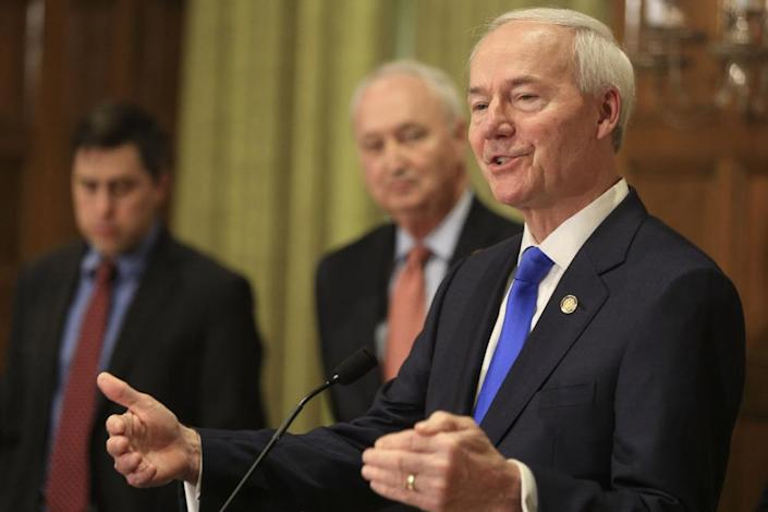 """<span class=""""element-image__caption"""">Asa Hutchinson, the Arkansas governor, has resisted issuing a broad stay-at-home order to curb the coronavirus outbreak.</span> <span class=""""element-image__credit"""">Photograph: Staton Breidenthal/AP</span>"""