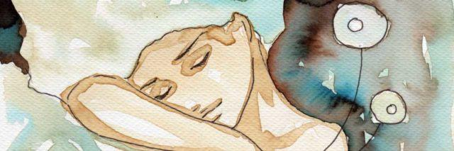 watercolor of a woman sleeping, her head resting on her arm