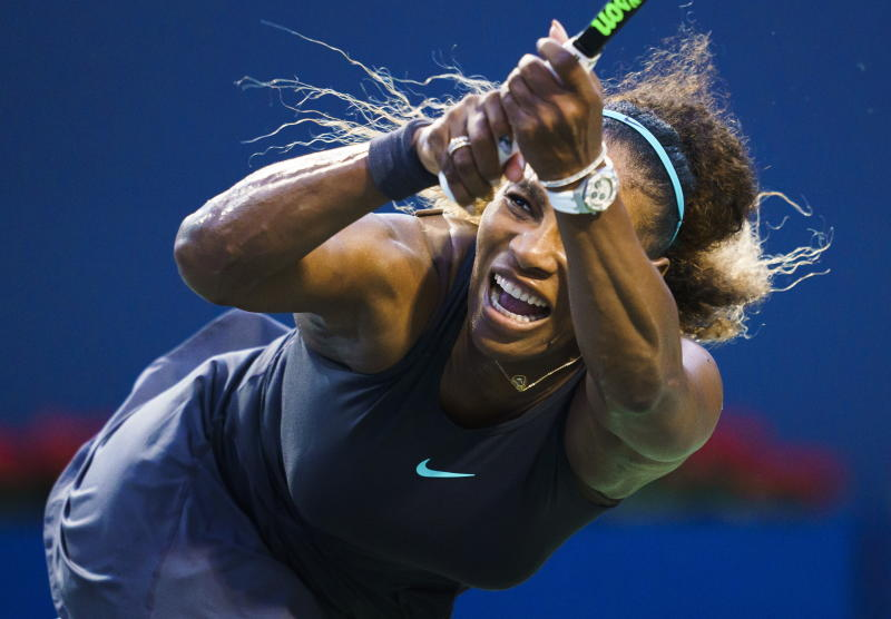 Serena Williams, of the United States, watches a return to Elise Mertens, of Belgium, during the Rogers Cup women's tennis tournament Wednesday, Aug. 7, 2019, in Toronto. (Mark Blinch/The Canadian Press via AP)