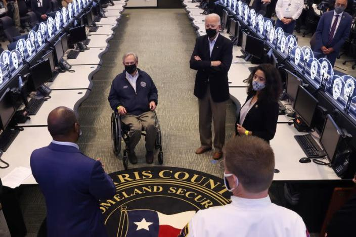 U.S. President Joe Biden tours Harris County Emergency Operations Center, in Houston, Texas