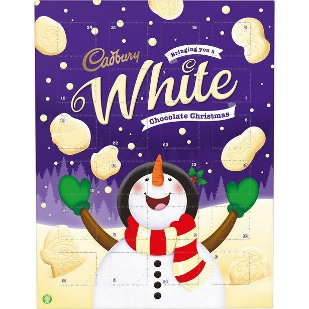 <p>Oh hello! Cadbury's white chocolate advent calendar is filled with, yup, you guessed it... white chocolate!</p>