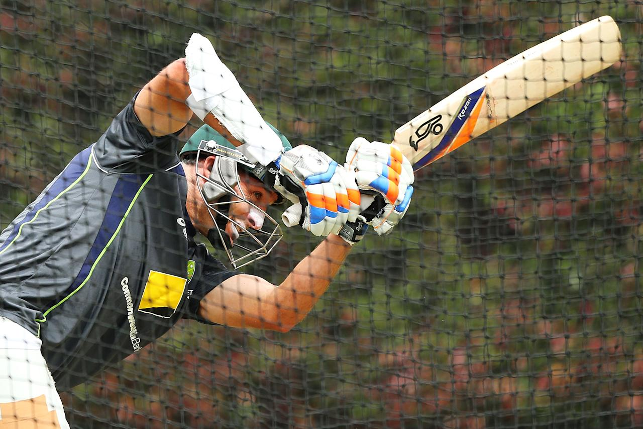 SYDNEY, AUSTRALIA - JANUARY 02:  Michael Hussey of Australia bats during an Australian nets session at Sydney Cricket Ground on January 2, 2013 in Sydney, Australia.  (Photo by Brendon Thorne/Getty Images)