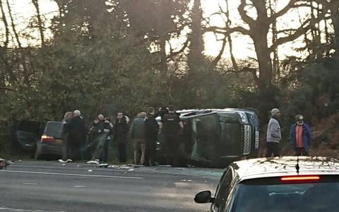 The Duke at the scene of the crash on the Queen's Sandringham Estate last month - Credit:  George Glass