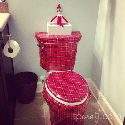 "<p>If you're a fan of putting cling wrap over the toilet seat on April Fool&rsquo;s Day, then you'll probably enjoy wrapping your toilet to help your elf play a trick.</p> <p>Source: <a href=""http://2.bp.blogspot.com/-iGMyDCTUK-g/UMlNvgQIJ8I/AAAAAAAABi4/jdDgjhC3ETk/s1600/ElfOnTheShelf13.jpg"" target=""_blank"">Blogspot</a></p>"