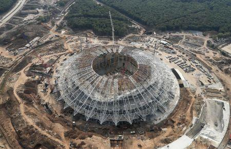 FILE PHOTO: An aerial view shows Samara Arena, the stadium under construction which will host matches of the 2018 FIFA World Cup in Samara, Russia August 24, 2017. REUTERS/Maxim Shemetov