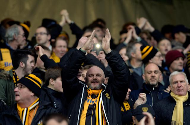 Soccer Football - FA Cup Second Round - Milton Keynes Dons vs Maidstone United - Stadium MK, Milton Keynes, Britain - December 2, 2017 Maidstone United fans Action Images/Adam Holt