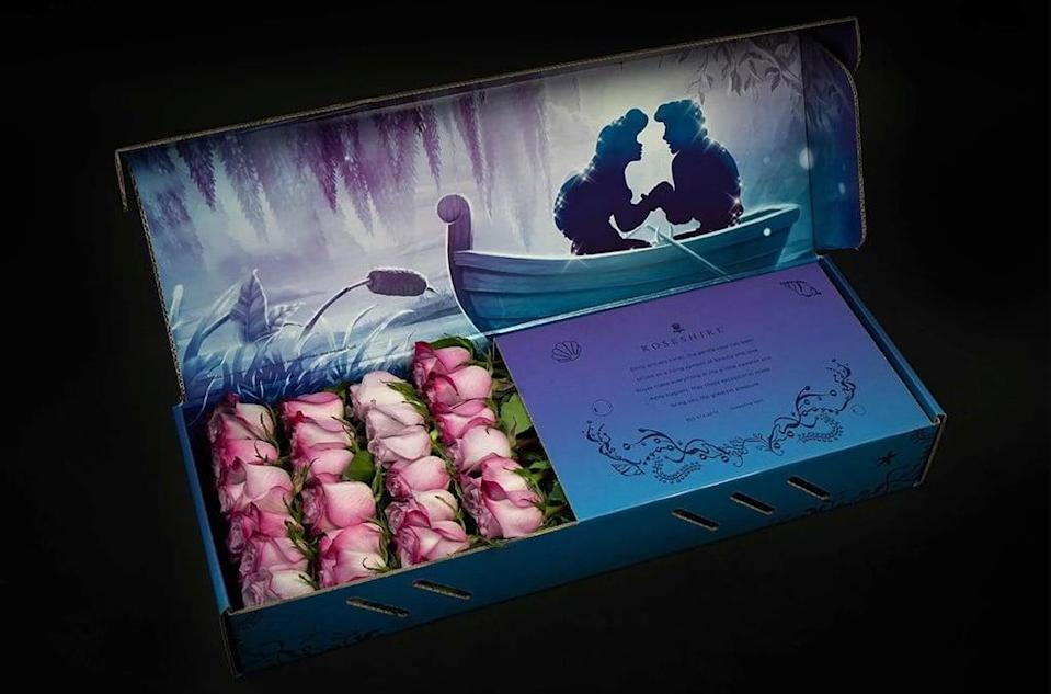 <p>This <span><strong>The Little Mermaid</strong> flower box</span> ($109-$199) is the perfect way to show your love to someone who's a big part of your world. The offering features Ariel and Eric and either one or two dozen roses that come in lavender, hot pink, red, or checkmate.</p>