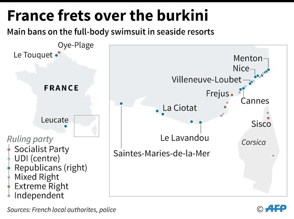 French resort towns and cities that have banned the burkini (AFP Photo/Alain BOMMENEL, Sabrina BLANCHARD)