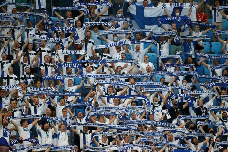 Finland supporters at their team's game against Russia in Saint Petersburg