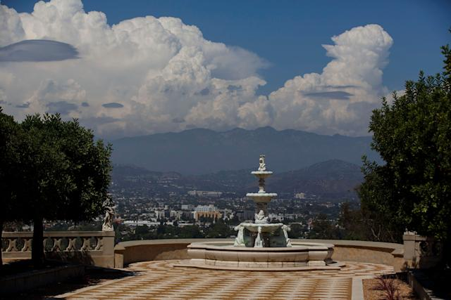 A fountain stands overlooking the valley at the former convent in Los Angeles.