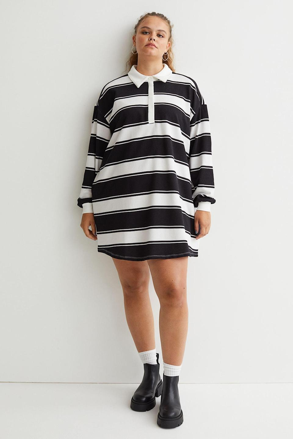 """<p>This preppy <span>H&amp;M+ Collared Dress</span> ($30) will look even more laidback with <a href=""""https://www.popsugar.com/fashion/best-chelsea-boots-for-women-48507110"""" class=""""link rapid-noclick-resp"""" rel=""""nofollow noopener"""" target=""""_blank"""" data-ylk=""""slk:Chelsea Boots"""">Chelsea Boots</a> and socks. We love the casual and easygoing silhouette.</p>"""
