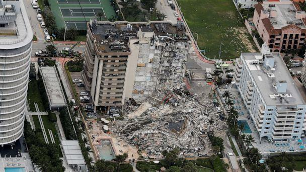 PHOTO: An aerial view showing a partially collapsed building in Surfside near Miami Beach, Fla., June 24, 2021. (Marco Bello/Reuters)