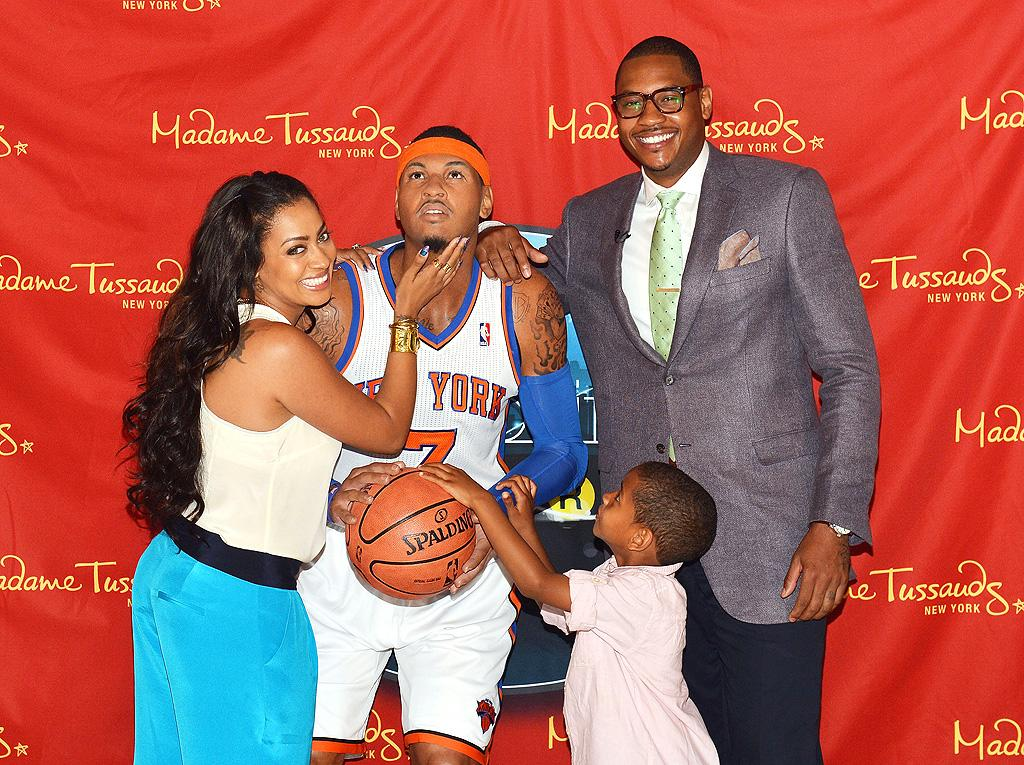 "New York Knicks player Carmelo Anthony and his family <span style=""font-size:11.0pt; "">–</span> wife La La Vazquez and son Kiyan <span style=""font-size:11.0pt; "">–</span> looked smitten with the NBA star's wax figure, which was unvieild at Madame Tussauds on Tuesday in <span style=""font-size:11.0pt; "">(</span>where else?<span style=""font-size:11.0pt; "">) </span>New York City! (6/26/2012)"
