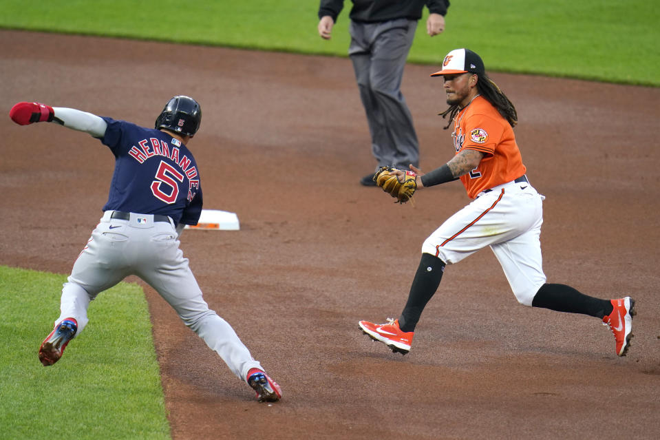 Baltimore Orioles shortstop Freddy Galvis, right, runs to tag out Boston Red Sox's Enrique Hernandez, left, on a fielders choice ground ball by Red Sox's Alex Verdugo during the first inning of a baseball game, Saturday, April 10, 2021, in Baltimore. (AP Photo/Julio Cortez)