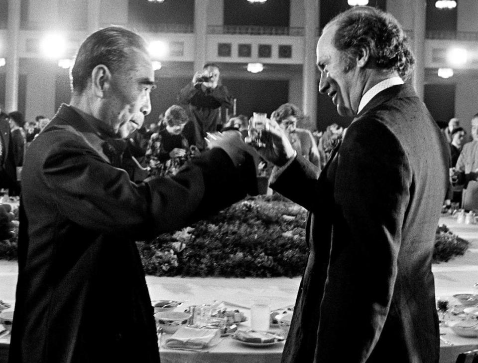Former Chinese premier Zhou Enlai toasts fromer prime minister Pierre Trudeau during a banquet held at the Great Hall of the People in Beijing, China, on Oct. 11, 1973. THE CANADIAN PRESS/PETER BREGG