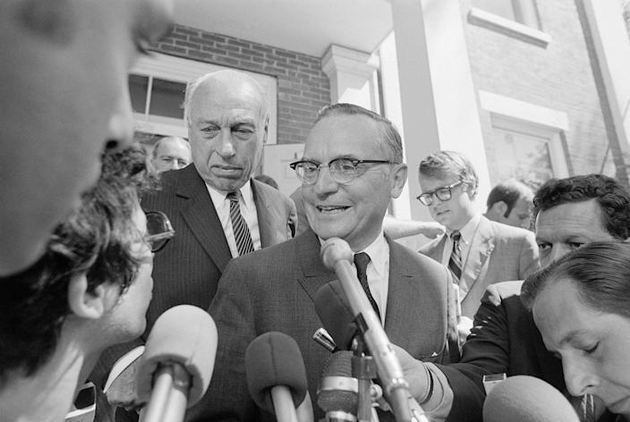Attorneys Edward Hanify (R) and Robert Clark Jr. (L-rear) talk with reporters as they emerged from Dukes County Court in Edgartown, Mass. The two are representing Sen. Edward Kennedy, and attended sessions where the ground rules of the inquest into the death of Mary Jo Kopechne, who was killed last month in a car driven by Sen. Edward Kennedy, were discussed with Judge James Boyle. (Photo: Bettmann/Getty Images)