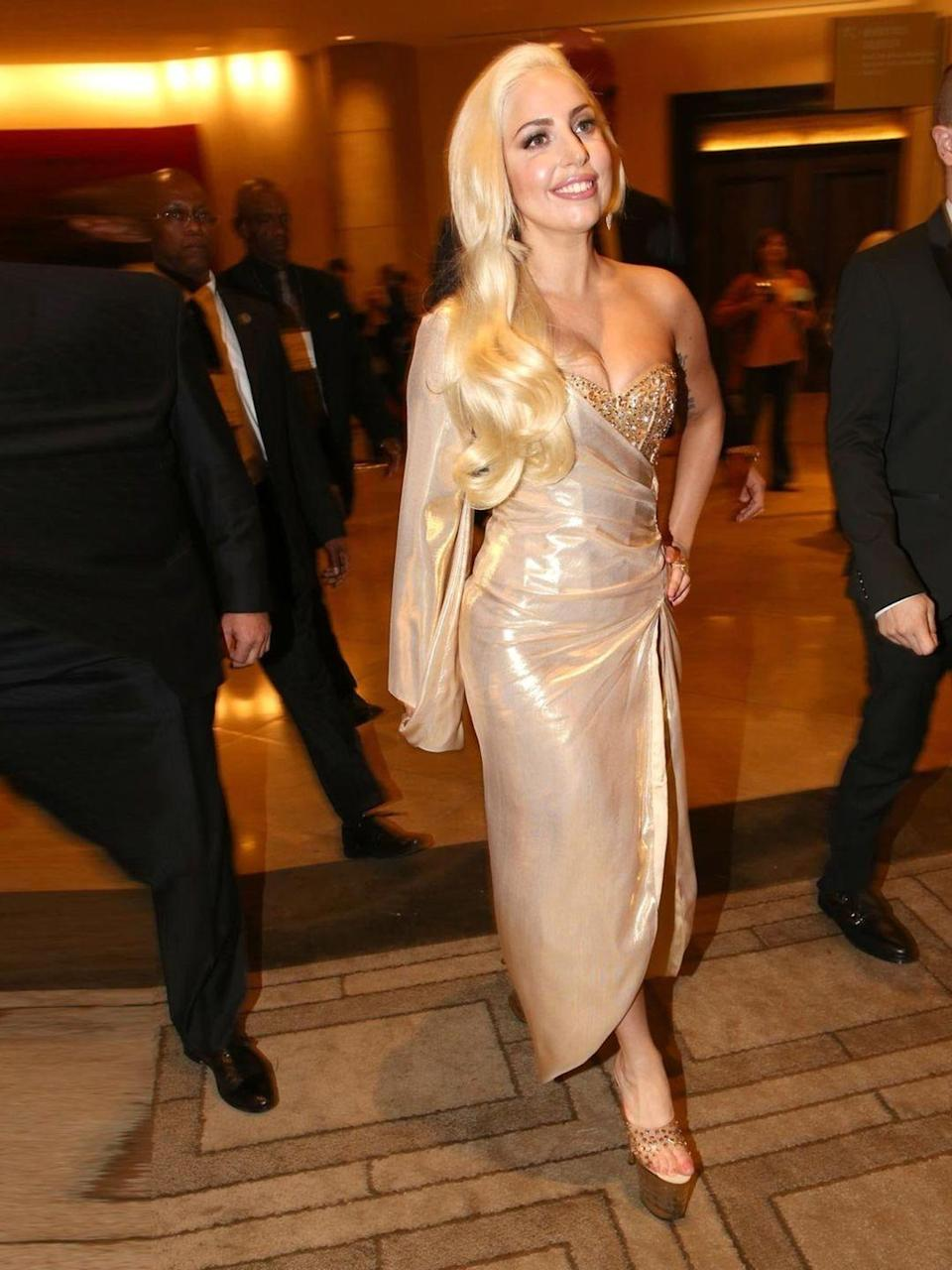 <p>Lady Gaga attends Universal, NBC, Focus Features, E! Sponsored by Chrysler Viewing and after party with Gold Meets Golden.</p>