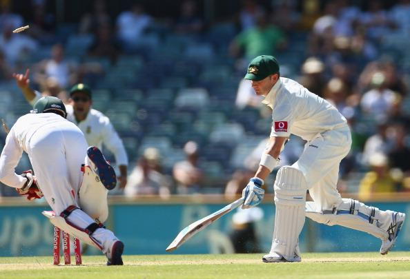 PERTH, AUSTRALIA - DECEMBER 03: Michael Clarke of Australia is stumped by AB de Villiers of South Africa during day four of the Third Test Match between Australia and South Africa at WACA on December 3, 2012 in Perth, Australia.  (Photo by Robert Cianflone/Getty Images)