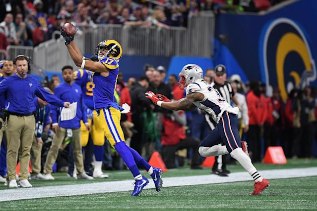 <p>Robert Woods #17 of the Los Angeles Rams makes a catch in the second quarter during Super Bowl LIII against the New England Patriots at Mercedes-Benz Stadium on February 3, 2019 in Atlanta, Georgia. (Photo by Harry How/Getty Images) </p>