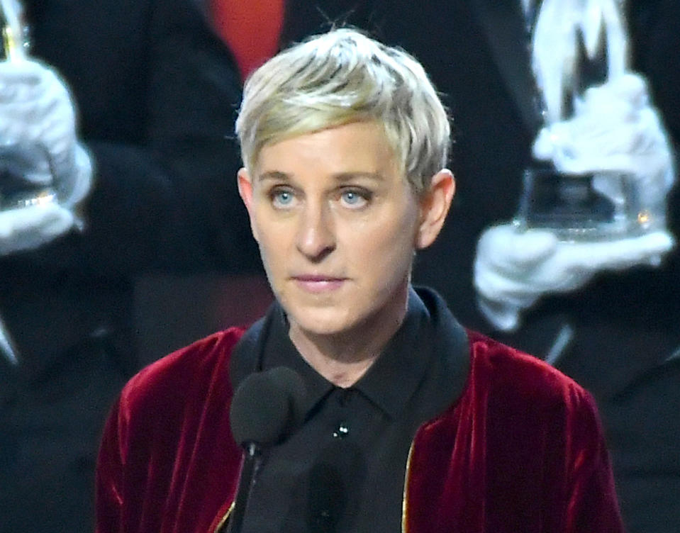 """Ellen DeGeneres, winner of the awards for favorite animated movie voice, favorite daytime TV host, and favorite comedic collaboration, speaks at the People's Choice Awards in Los Angeles. Degeneres says she's """"furious"""" so many black men have been shot by police and """"nothing seems to change."""" Speaking on her show Friday, April 20, 2018, with CNN's Van Jones, Degeneres said she's """"ashamed."""""""