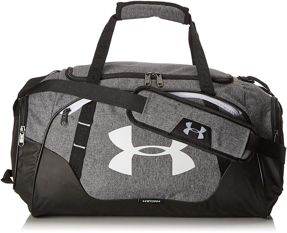 <p>He can put everything from his sneakers to workout shoes inside the <span>Under Armour Undeniable Duffle 3.0 Gym Bag</span> ($45).</p>