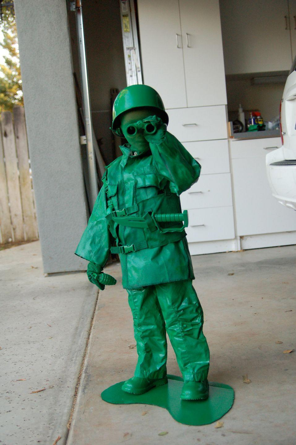 """<p>This toy Army man costume involves LOTS of green spray paint.</p><p><strong>Get the tutorial at <a href=""""http://wildinkpress.com/blog/2011/11/01/a-bit-of-halloween-eye-candy/"""" rel=""""nofollow noopener"""" target=""""_blank"""" data-ylk=""""slk:Wild Ink Press"""" class=""""link rapid-noclick-resp"""">Wild Ink Press</a>.</strong></p>"""
