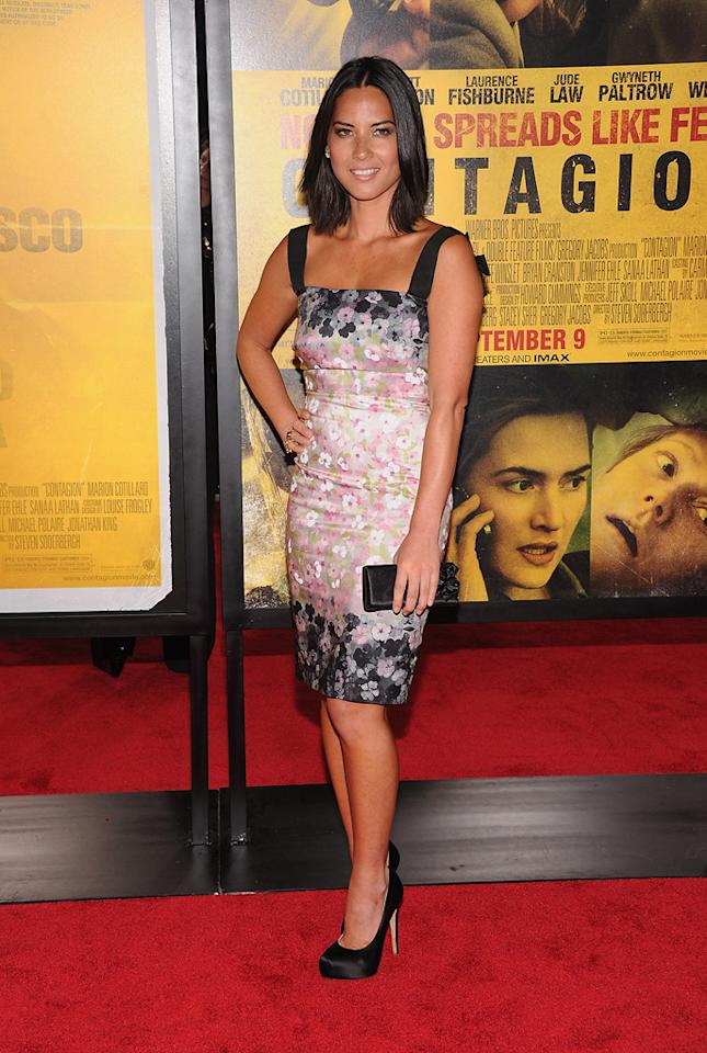 "<a href=""http://movies.yahoo.com/movie/contributor/1809769063"">Olivia Munn</a> at the New York City premiere of <a href=""http://movies.yahoo.com/movie/1810161340/info"">Contagion</a> on September 7, 2011."