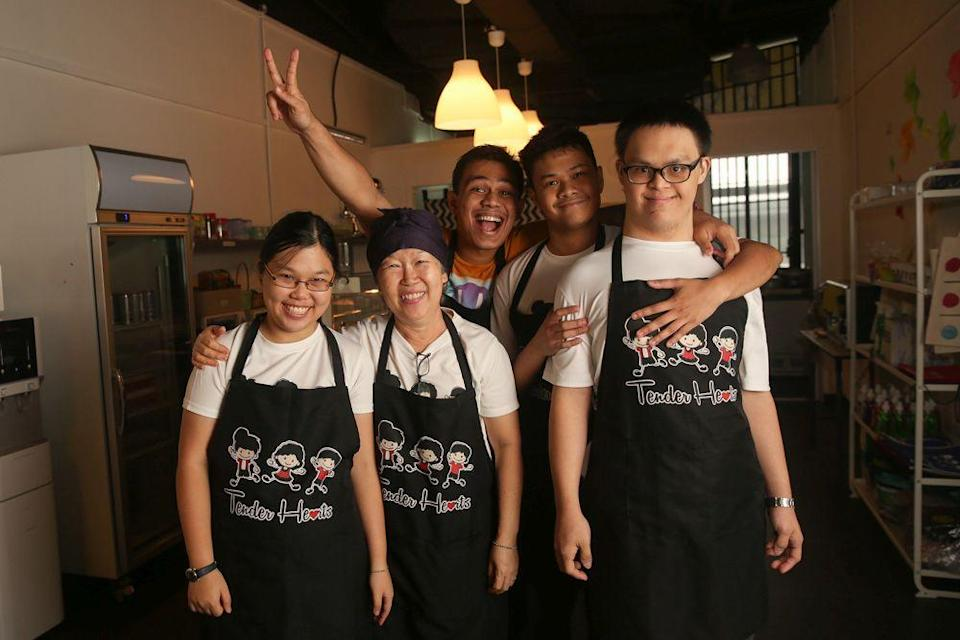 Tender Hearts' lovely and warm staff (from left) Sue Ann, Sharon Lee, Danny, Aizat and Sek Yi. — Picture by Choo Choy May