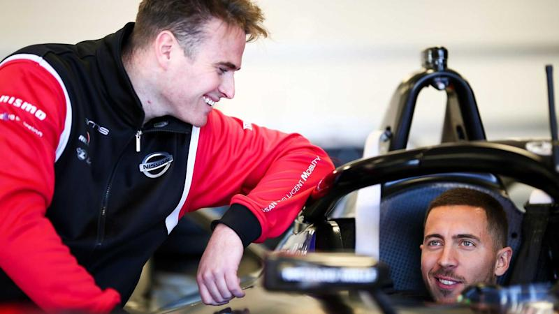 Real Madrid's Eden Hazard takes a spin in Nissan EVs