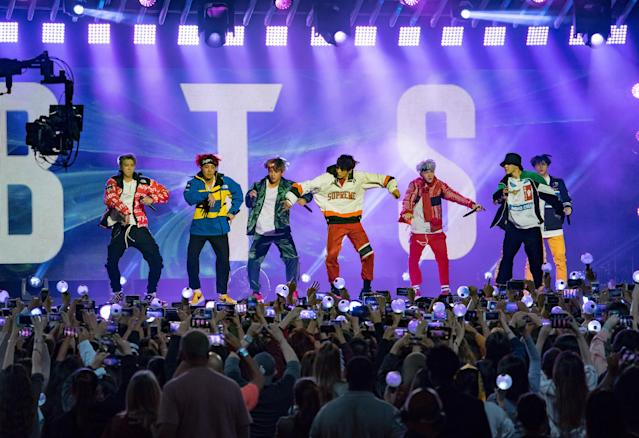 "Korean K-pop band BTS is seen performing at ""Jimmy Kimmel Live"" in November. (RB/Bauer-Griffin via Getty Images)"