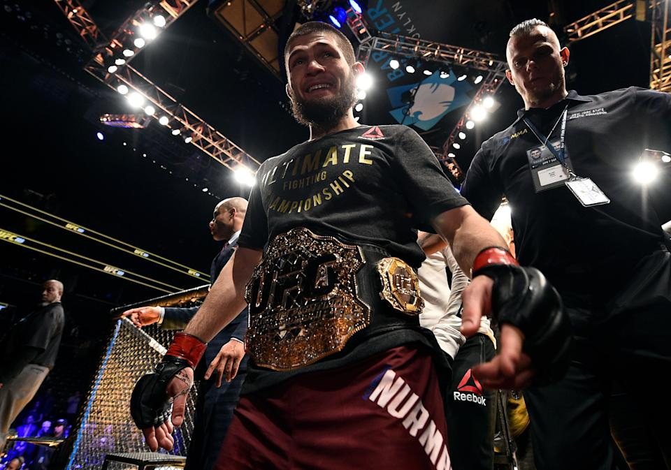Khabib Nurmagomedov celebrates after his unanimous-decision victory over Al Iaquinta in their lightweight title bout during the UFC 223 event inside Barclays Center on April 7, 2018 in Brooklyn, New York. (Getty)