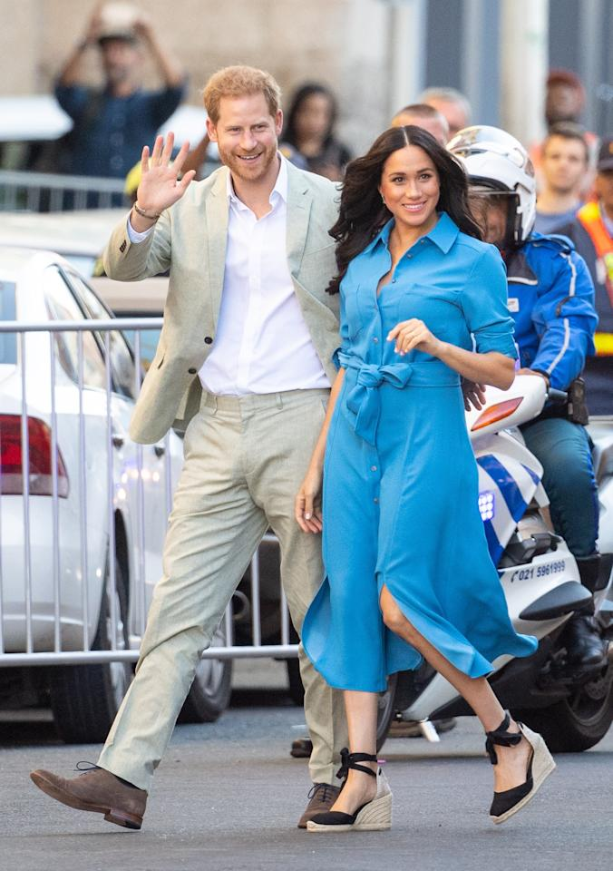 Later that day she brought back one of her best looks from her royal tour of Australia: a blue shirtdress by Veronica Beard.