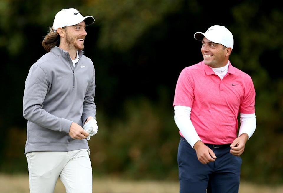Tommy Fleetwood (left) and Francesco Molinari during day two of the British Masters at Walton Heath (Steven Paston/PA) (PA Archive)