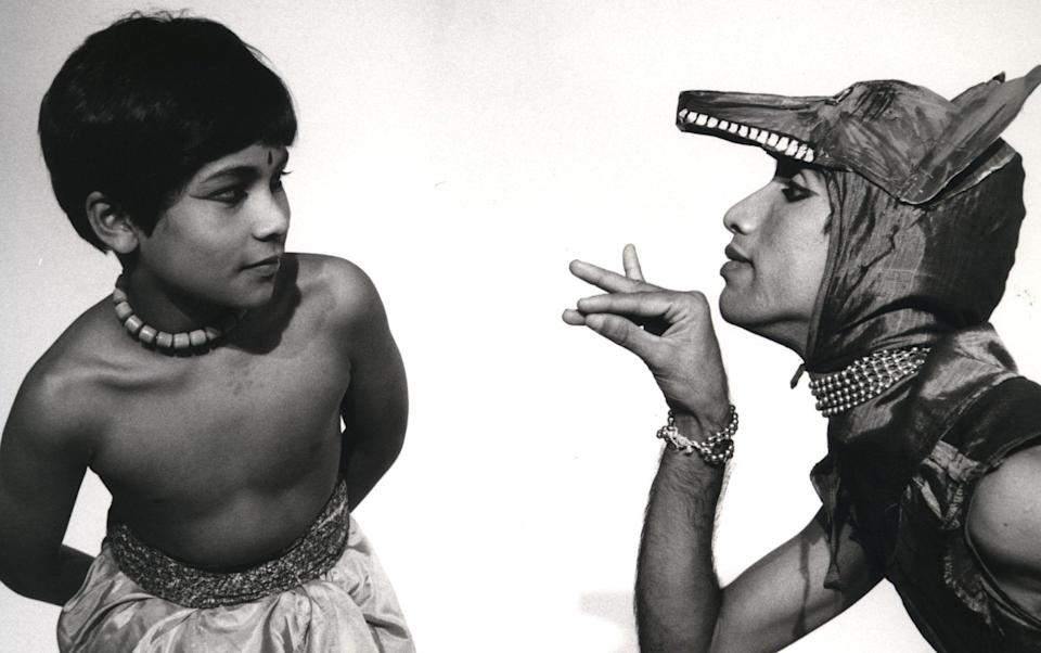 Khan launched his career in the Adventures of Mowgli tour (1984–1985) produced by the Academy of Indian Dance - Alan Dilly/Akademi archives