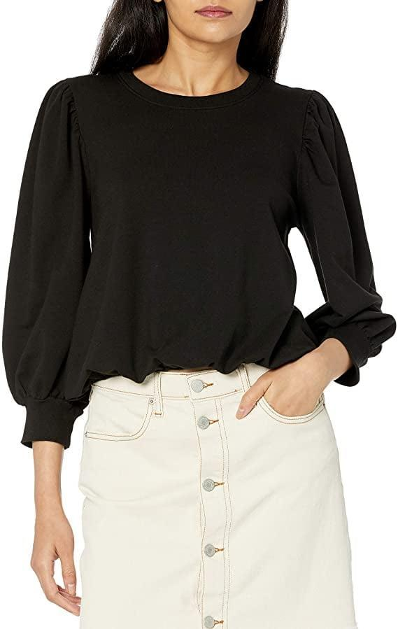 <p>This <span>The Drop Leona Short Puff Sleeve Crew Neck French Terry Sweatshirt</span> ($40) is quite cute.</p>