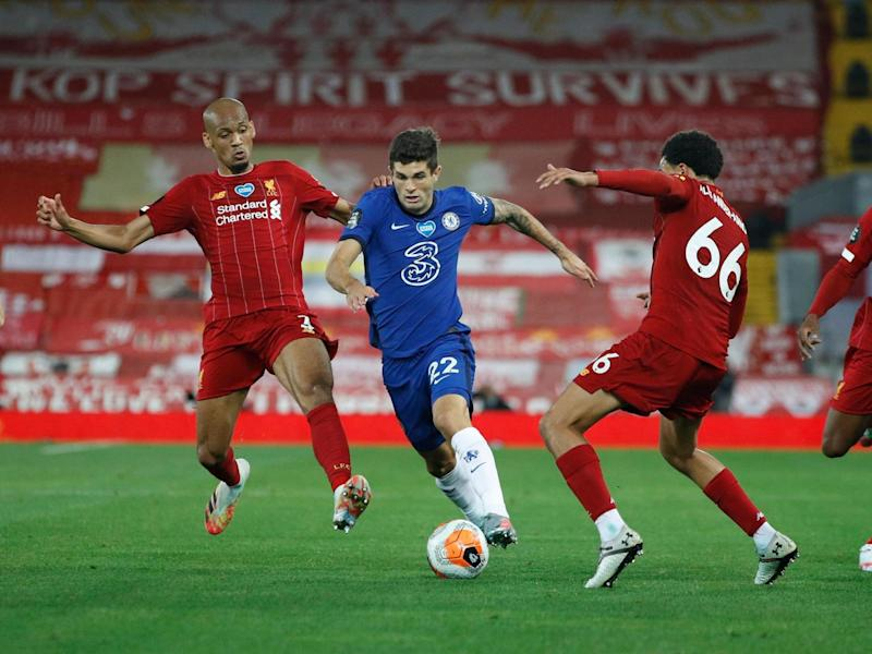 Pulisic dribbles past Fabinho and Alexander-Arnold: POOL/AFP