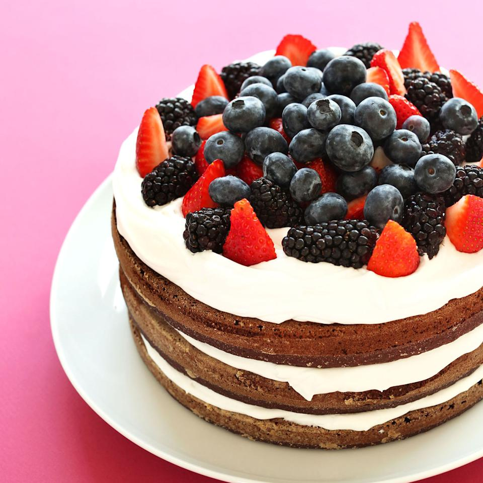 "<p>This chocolatey gluten-free cake will disappear from the table in minutes. Layered with coconut whipped cream and topped with berries, it'll satisfy without weighing you down.</p><p><strong>Get the recipe at <a rel=""nofollow"" href=""http://minimalistbaker.com/gluten-free-birthday-cake-vegan/"">Minimalist Baker</a>.</strong><span></span></p>"