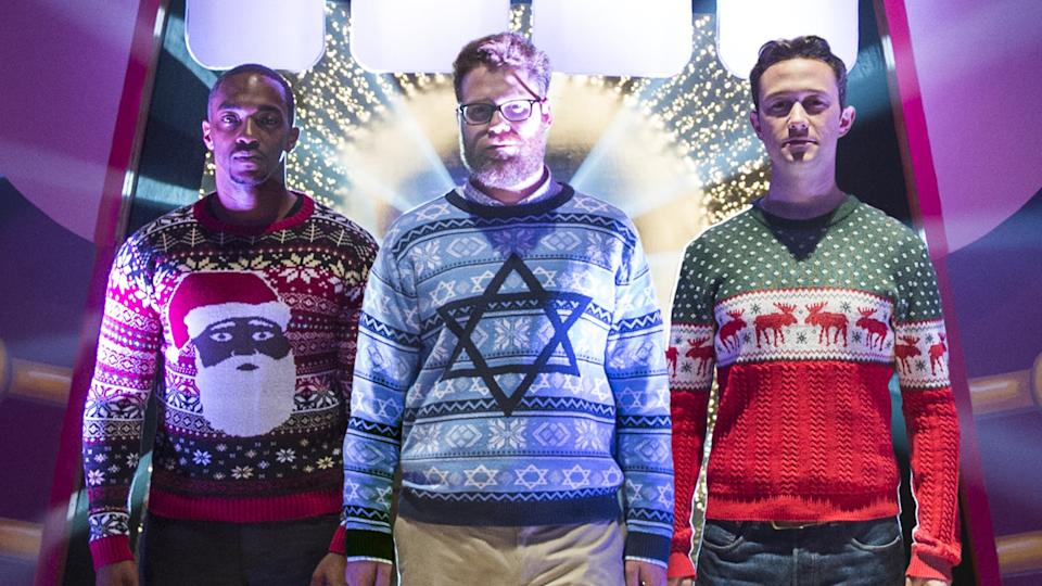 The frat boy world of Seth Rogen meets the festive period, as he joins Joseph Gordon-Levitt and Anthony Mackie as buddies in search of a quasi-mythical Christmas Eve party. (Credit: Columbia Pictures)