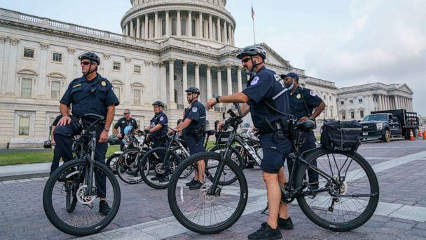 PHOTO: U.S. Capitol Police Mountain Bike officers secure the plaza as House Minority Leader Kevin McCarthy assembles his Republican colleagues on the steps of the Capitol in Washington, D.C., July 29, 2021. (J. Scott Applewhite/AP)