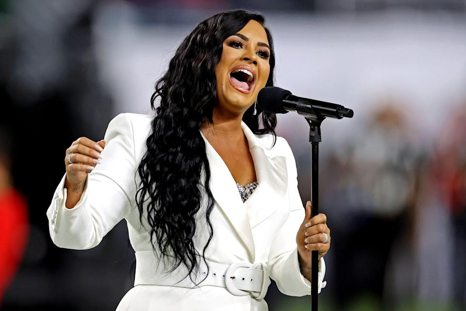 Demi Lovato performs the national anthem before the 2020 Super Bowl.