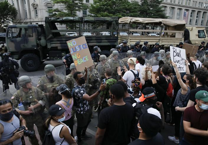 Demonstrators and police face off on the sixth consecutive day of protests over the death of George Floyd, an unarmed black man who died last week after being pinned down by a white police officer in Minneapolis on June 3, 2020 in Washington, DC, United States. (Yasin Ozturk/Anadolu Agency via Getty Images)